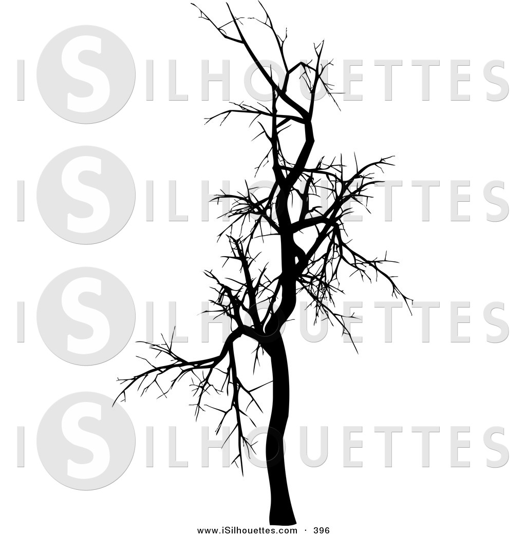 Winter Tree Black And White Clipart.