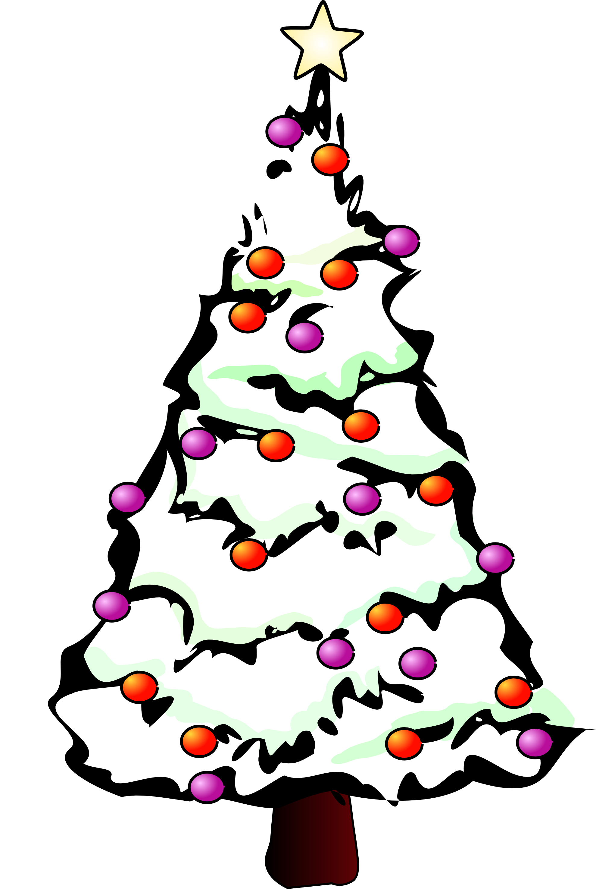 Snow Christmas Tree Clipart Black And White.