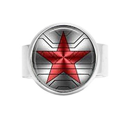 Bucky Barnes aka Winter Soldier Logo Adjustable Ring.