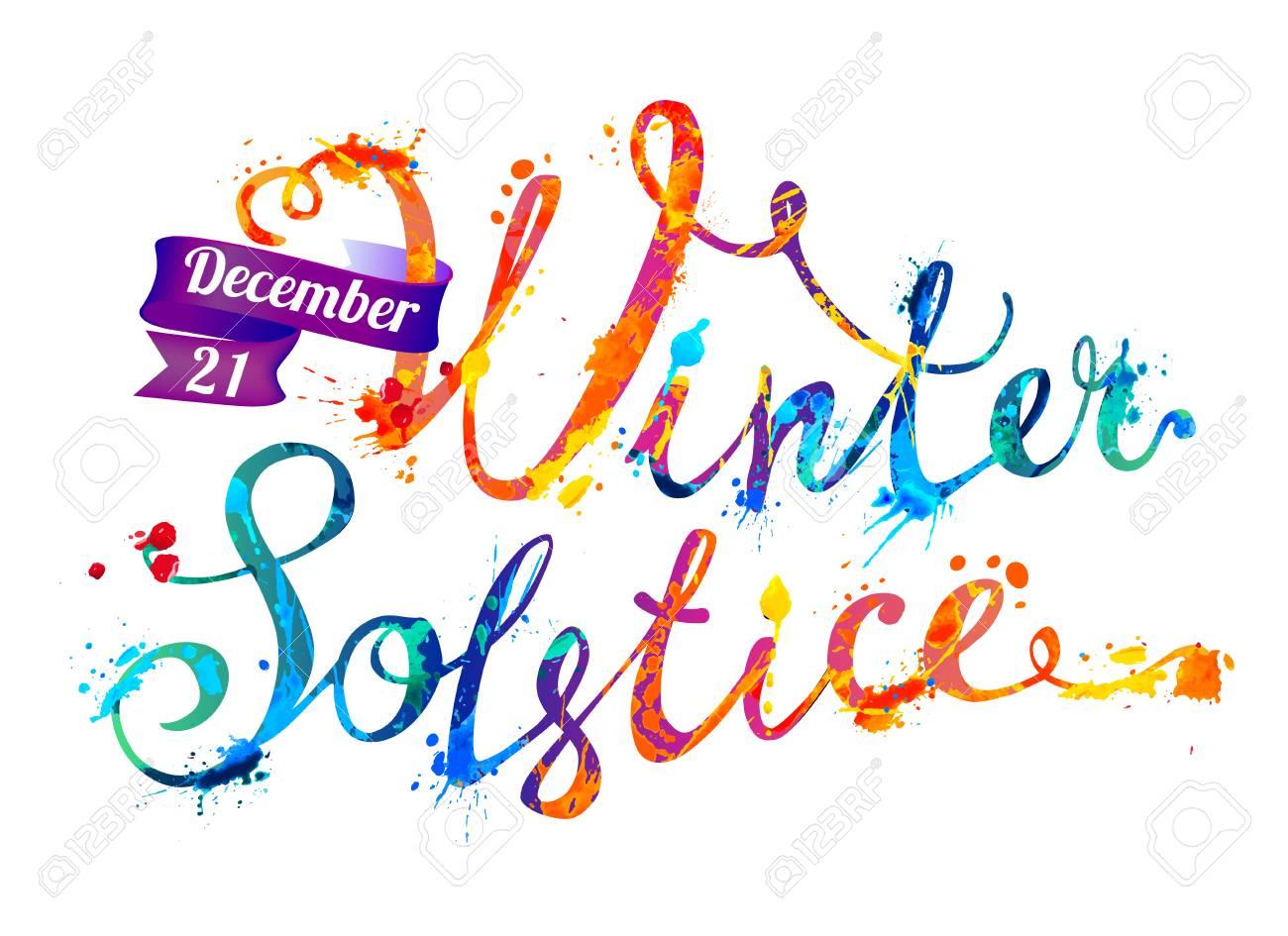 Winter solstice. December 21. Vector watercolor splash paint.