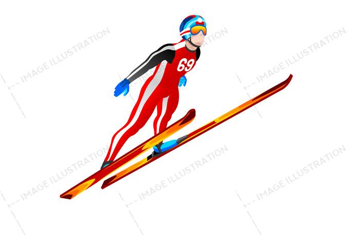 Ski Jump Winter Sports Clipart.