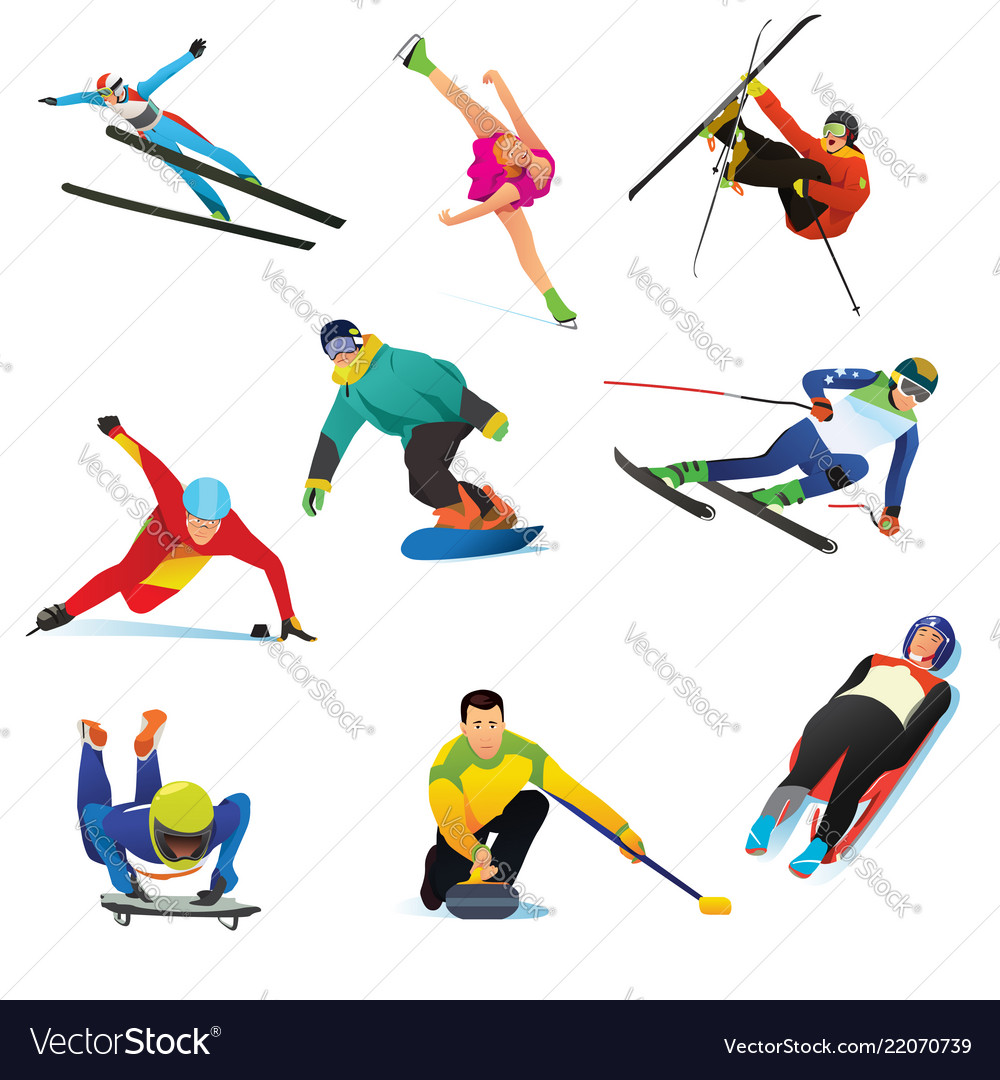 Winter sports cliparts icons.