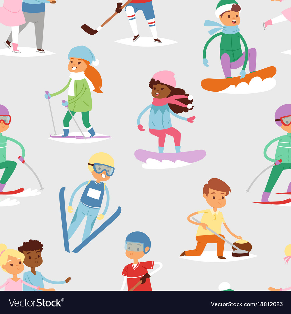 Winter sport kids games cute cartoon.