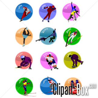 CLIPART WINTER SPORTS ICONS.