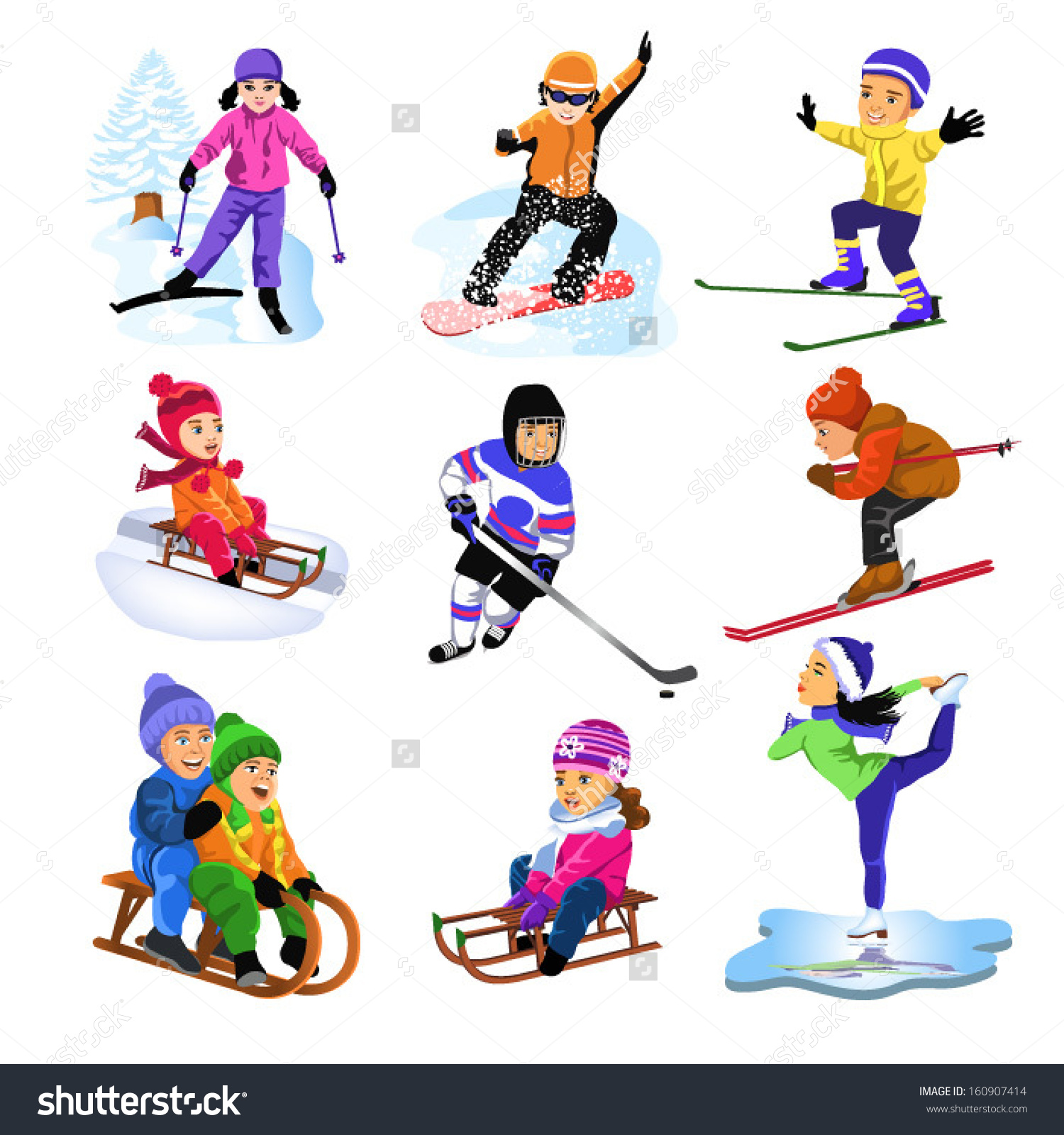 Clipart winter sports kids.