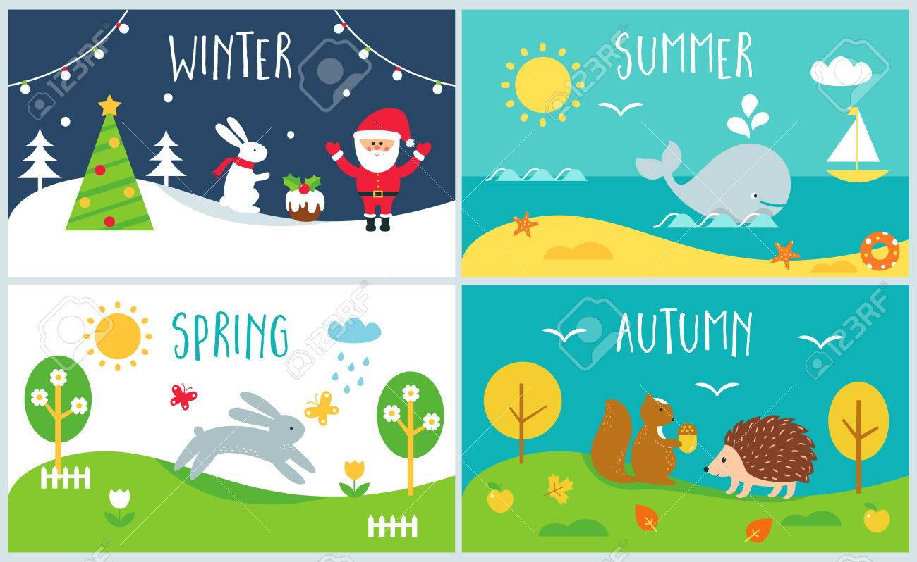 Winter And Summer Clipart.