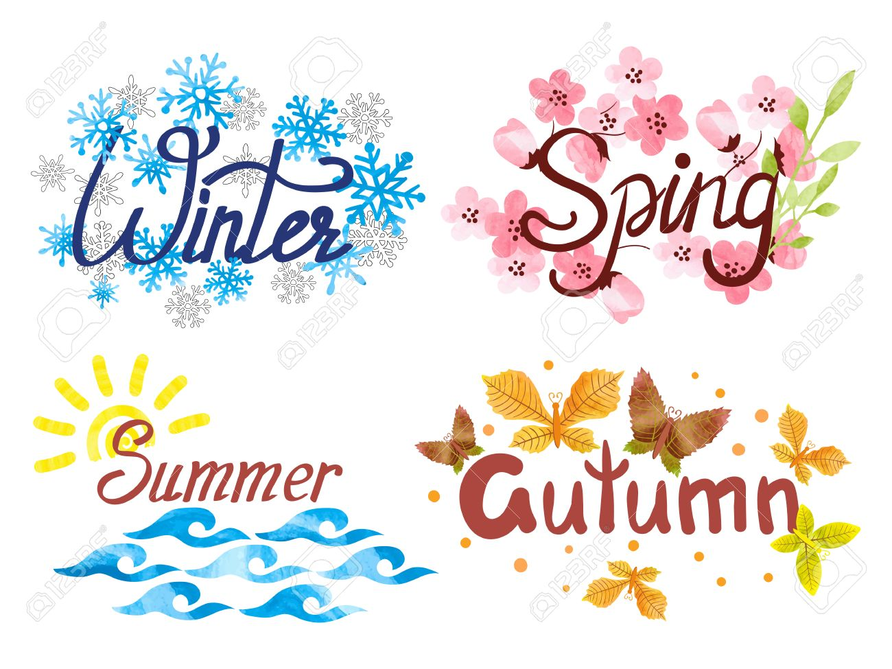 Spring Summer Fall Winter Clipart.
