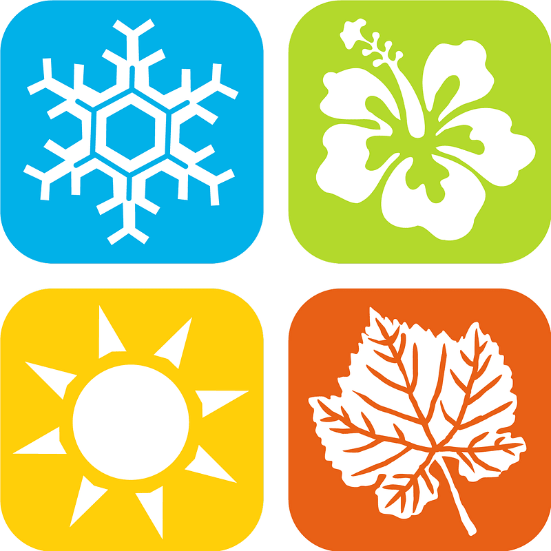 Winter, Spring, Summer, Fall, Season Icons vector. Free.