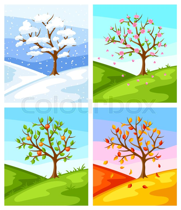 Four seasons. Illustration of tree and.