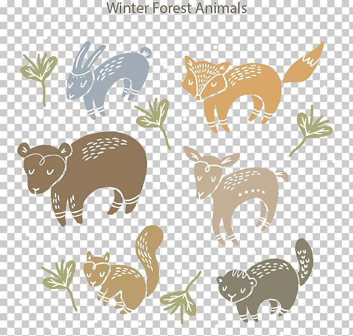 Forest Animals Squirrel Illustration, Winter forest animals.