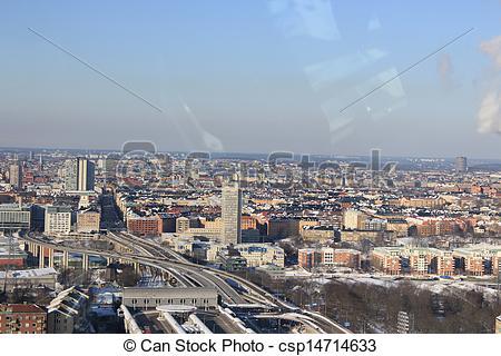 Stock Photos of Stockholm skyline in winter csp14714633.