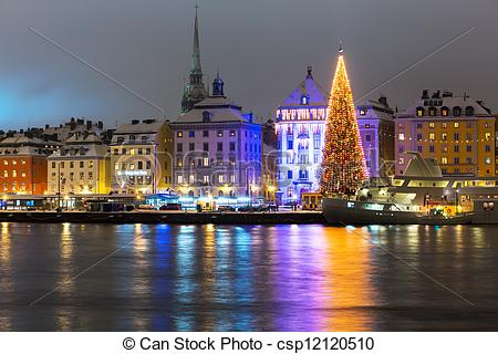 Stock Photography of Christmas in Stockholm, Sweden.
