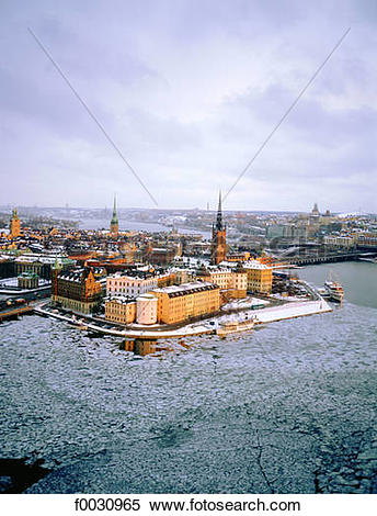 Stock Image of Sweden, Stockholm, Gamla Stan: old city, overview.