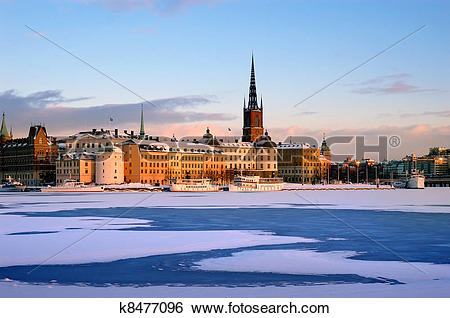 Stock Images of Winter in Stockholm with snow k8477096.