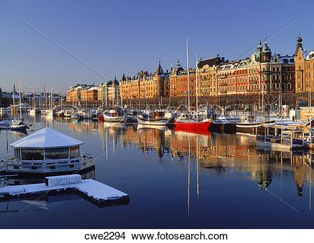 Stock Photo of Boats along Strandvagen in Stockholm in winter.