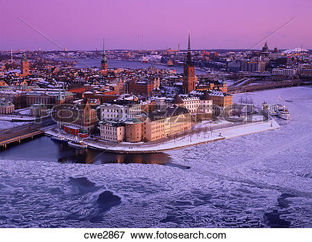 Picture of Riddarholmen and Old Town in Stockholm under crimson.