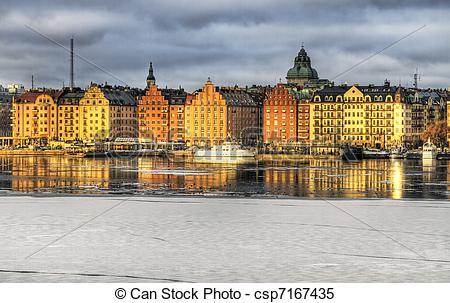 Stock Images of Kungsholmen, Stockholm in winter..