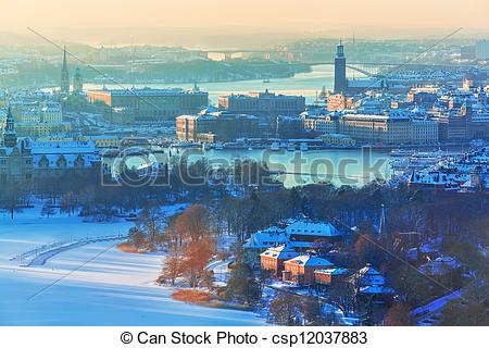 Pictures of Winter aerial scenery of Stockholm, Sweden.