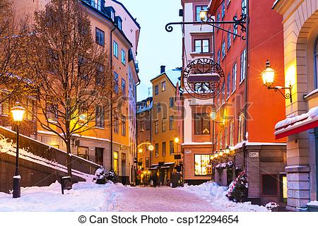 Stock Images of Winter in the Old Town in Stockholm, Sweden.