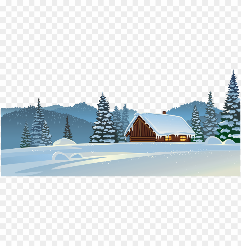 winter house and snow ground png clipart image.
