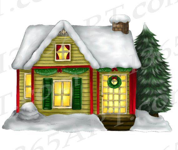 Christmas House Clipart, Winter House Clipart, Cottage.