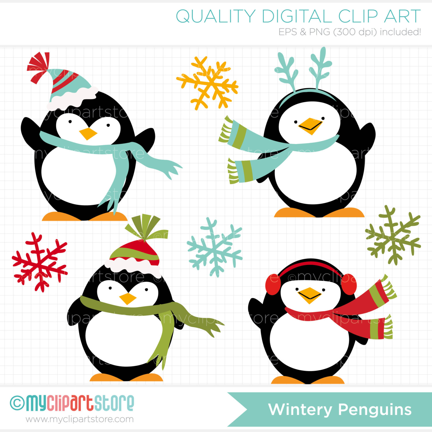 winter penguin clipart.