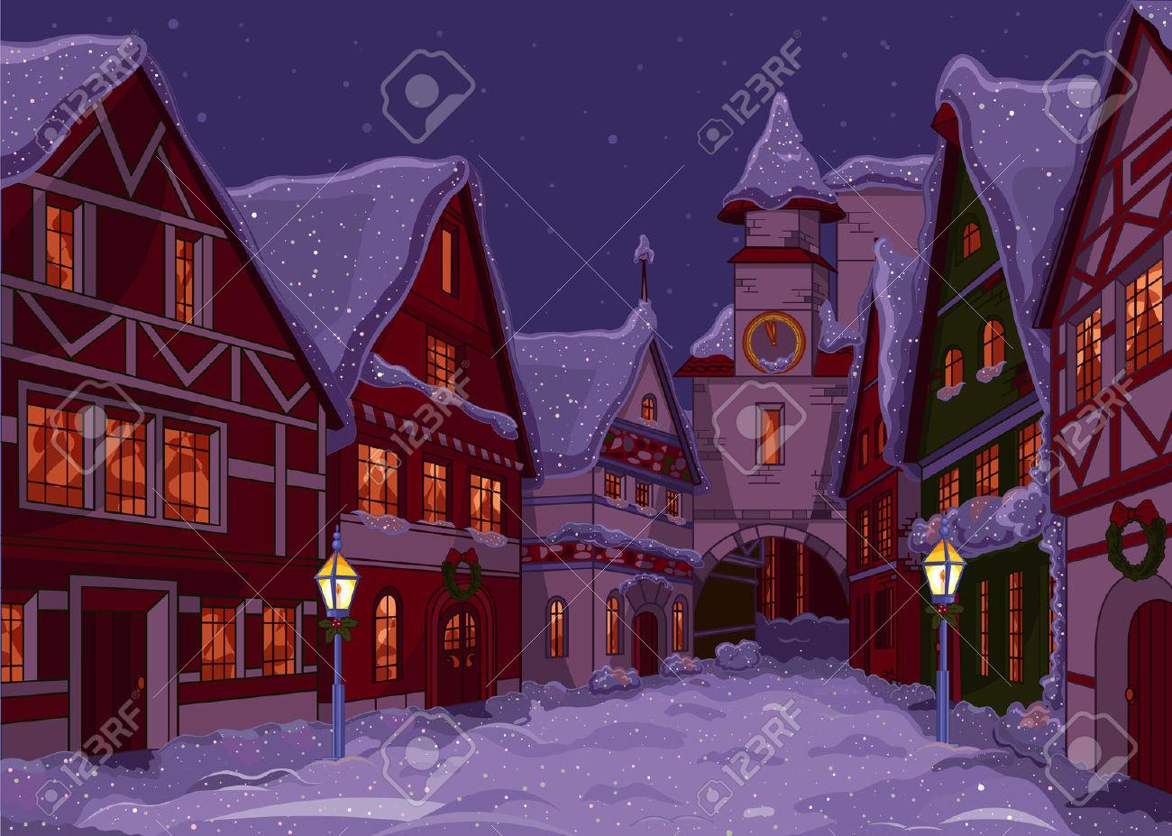 Christmas city street clipart.