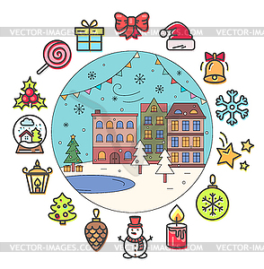 Christmas Icons and Winter Street with Buildings.