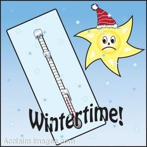 Clip Art of a Frozen Thermometer With a Winter Sun.