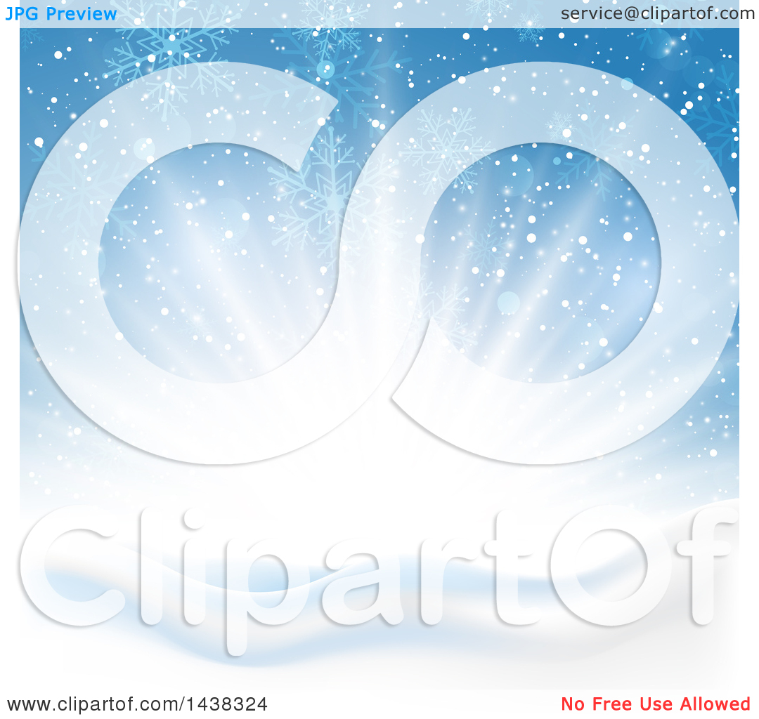 Clipart of a Winter Sunrise with Flares of Light, Snowflakes and.