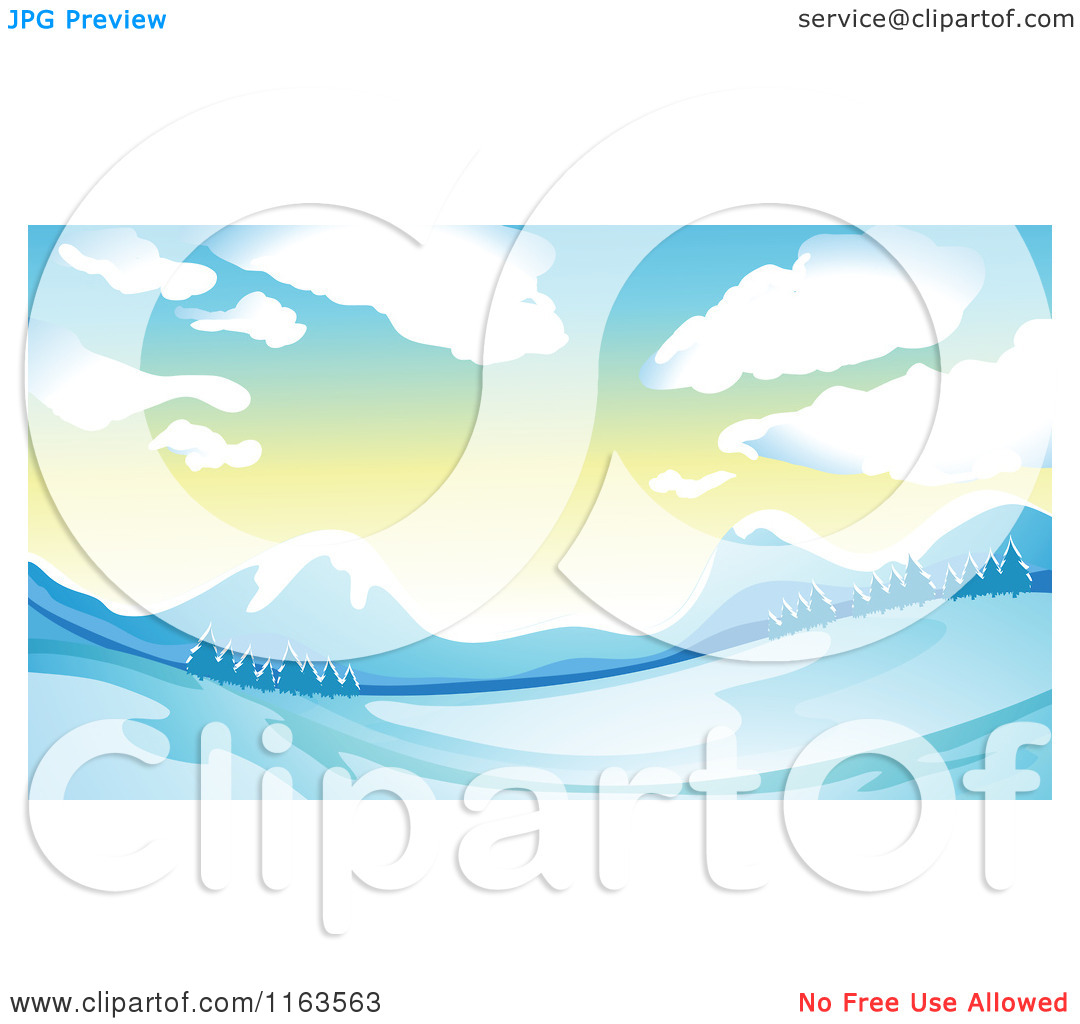 Cartoon of a Hilly Winter Landscape with Mountains at Sunrise.