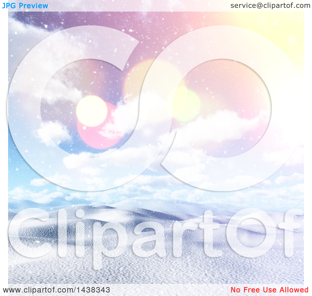 Clipart of a 3d Winter or Christmas Background of a Hilly Snowy.