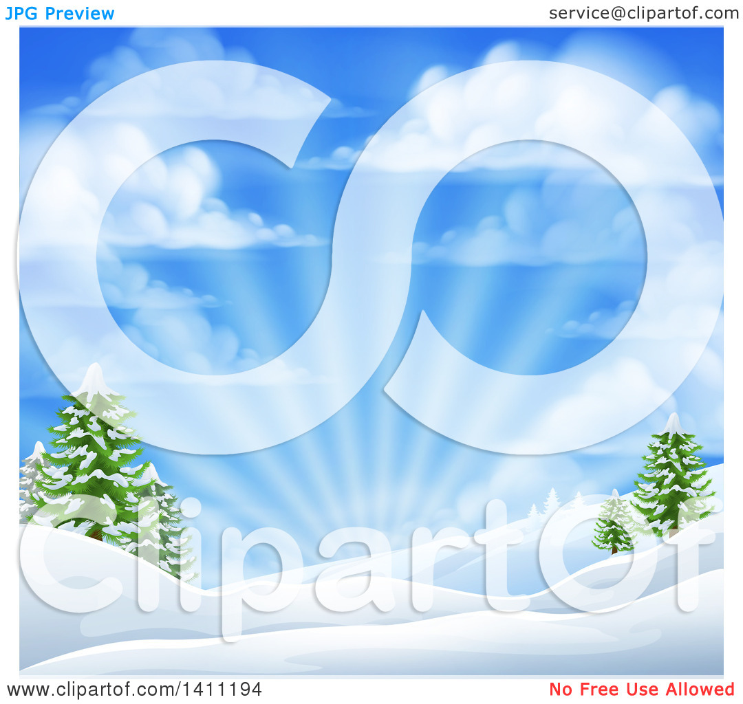 Clipart of a Winter Morning Sunrise with Rays and a Blue Cloudy.