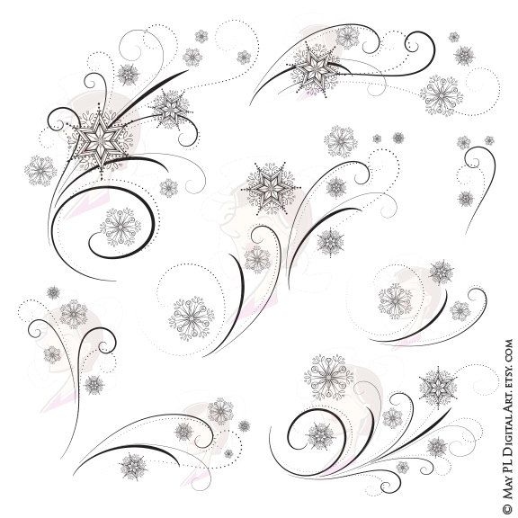 Snowflake Clipart Flourish.