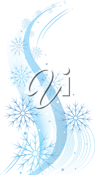 Royalty Free Clipart Image of a Swirling Snowflake Pattern.