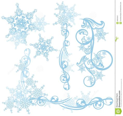 Photo about Snowflakes decorative vector design elements.