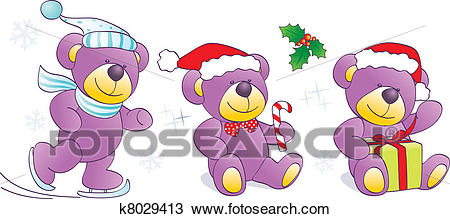 Christmas, winter Teddy bears Clipart.