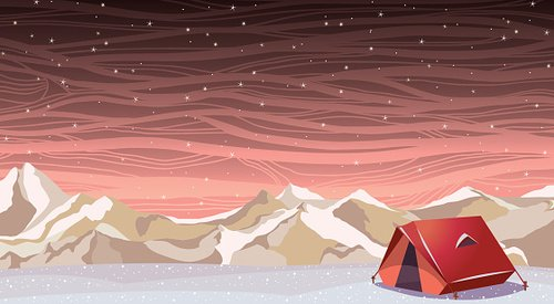 Winter landscape with travel tent. Extreme camping. Clipart.