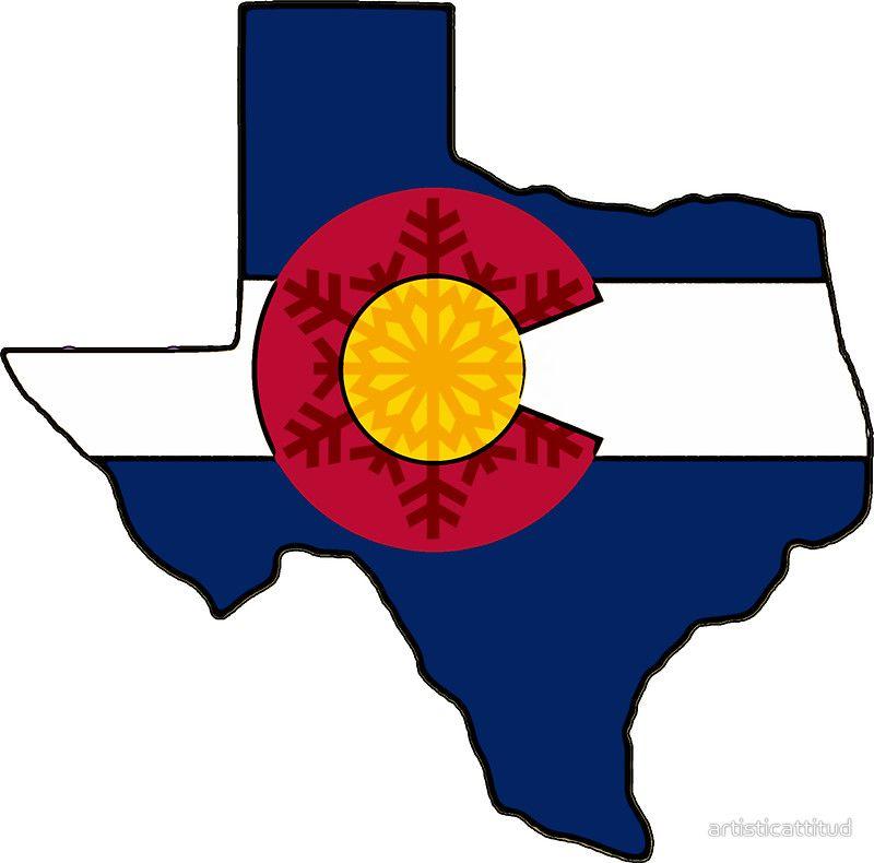 Texas Colorado flag snowflake design\' Sticker by.