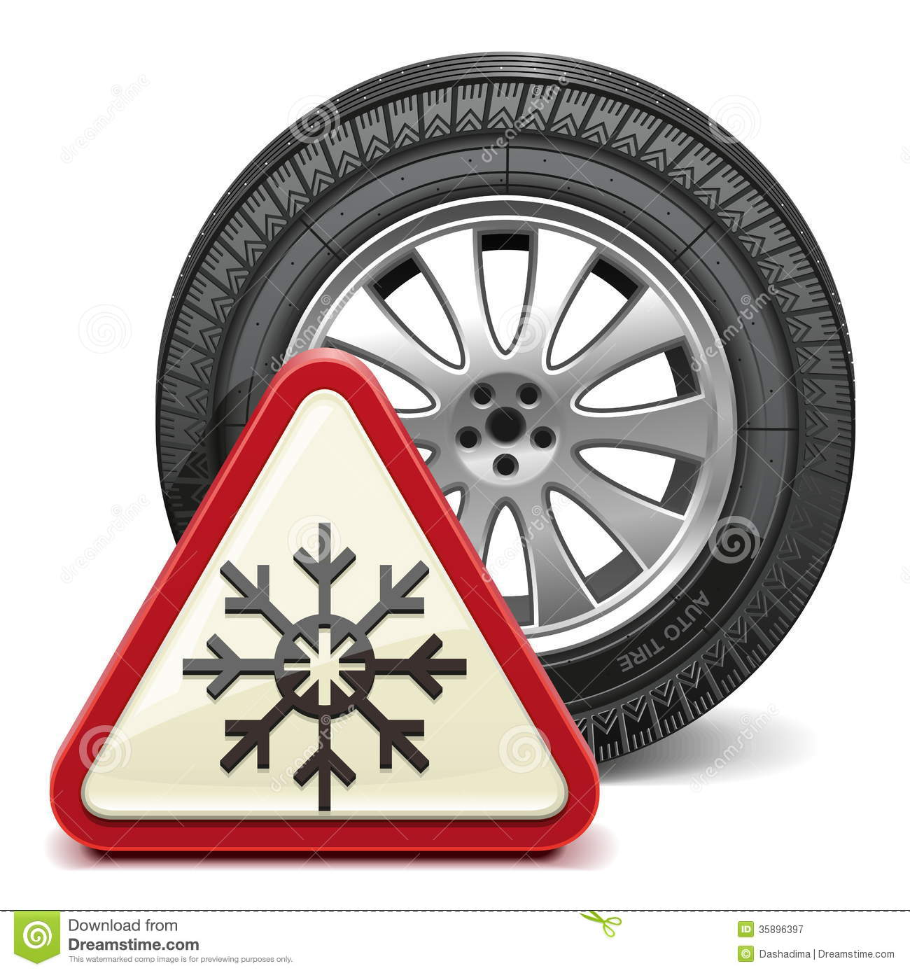 Vector Winter Tire With Sign Royalty Free Stock Photography.