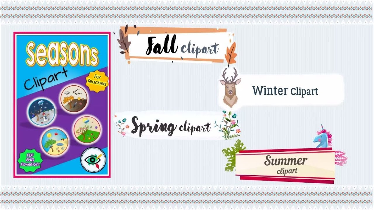 Four Seasons Clipart for teachers summer, fall, winter and spring.