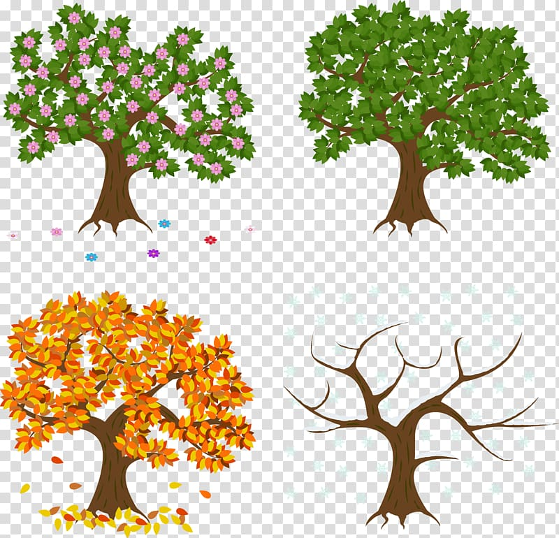 Four assorted trees art, hand painted spring, summer, autumn.