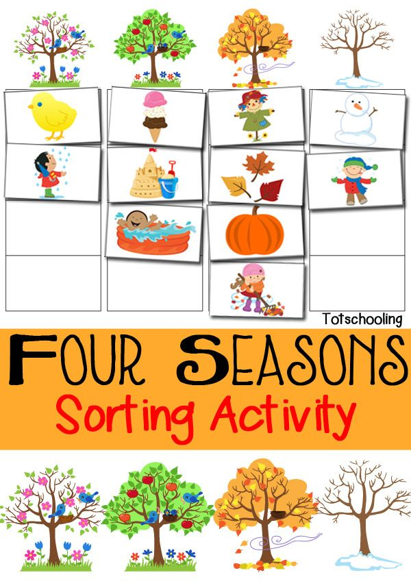 Four Seasons Sorting Activity Free Printable.