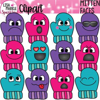 Emoji Emotion Winter Mitten Clipart.