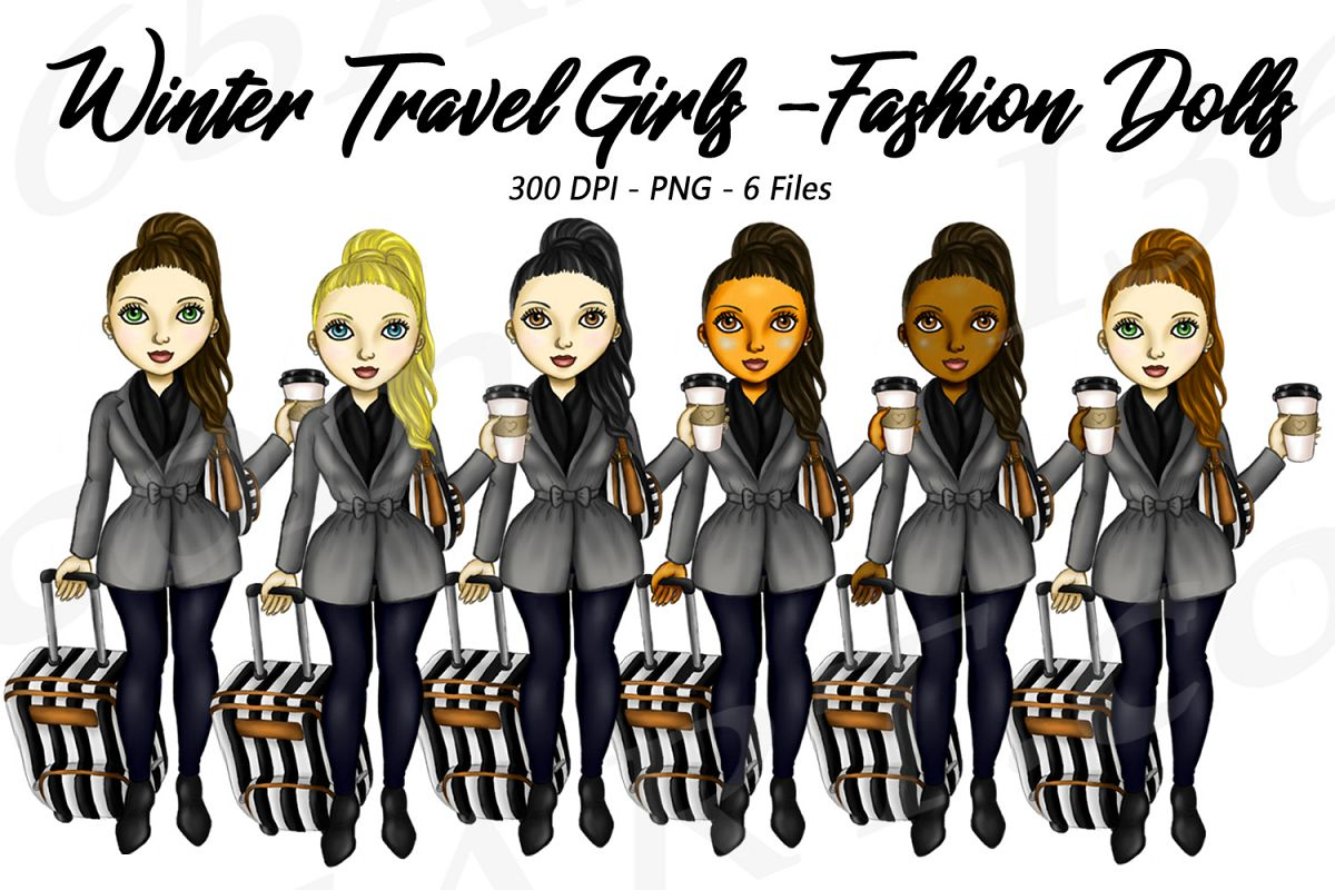 Winter Travel Clipart Girls, Fashion Doll Illustrations, PNG.