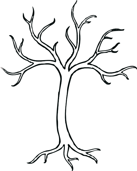 Coloring Bare Tree clip art.