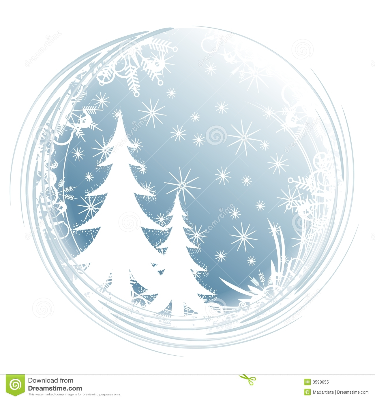 winter tree clipart blue #12