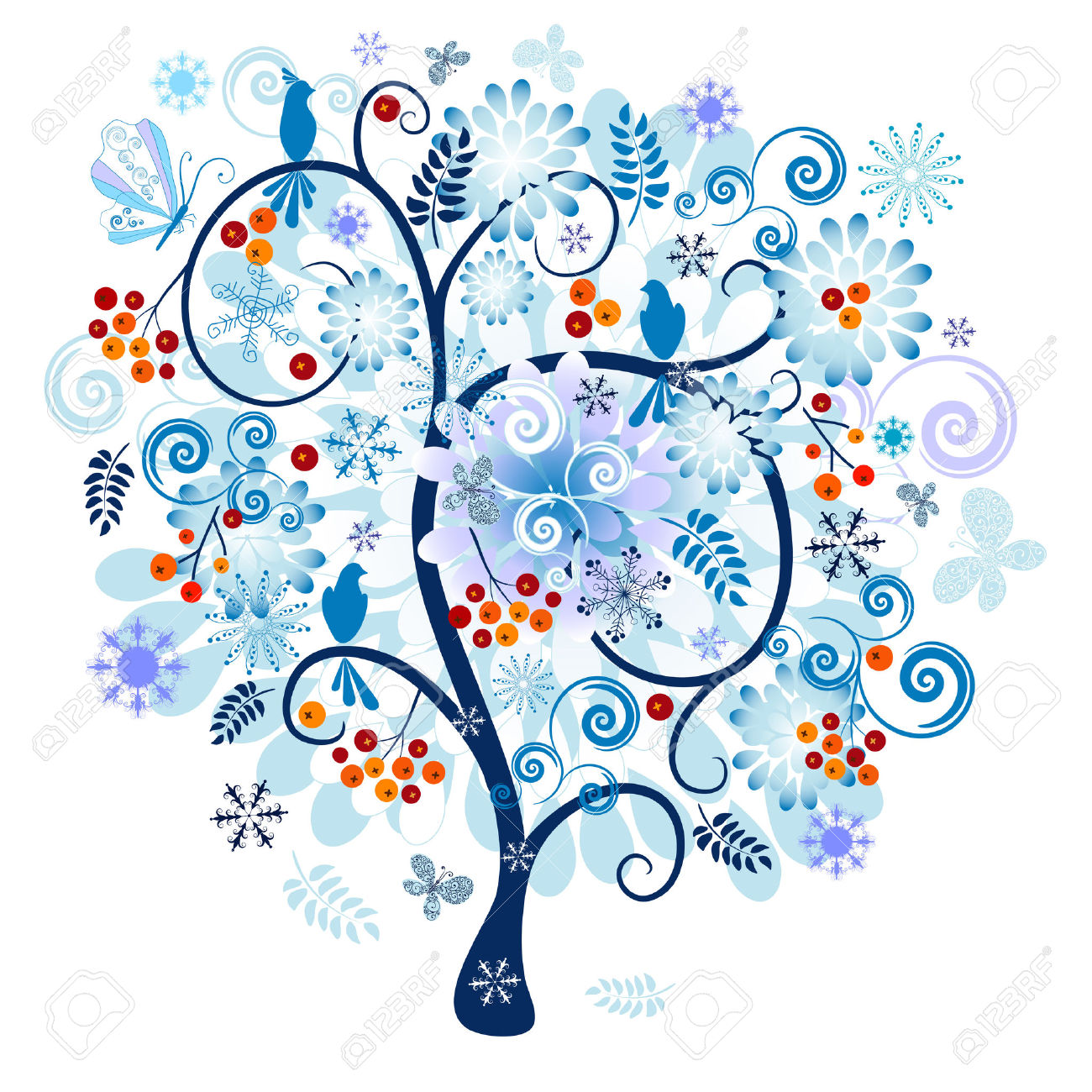 winter tree clipart blue #9