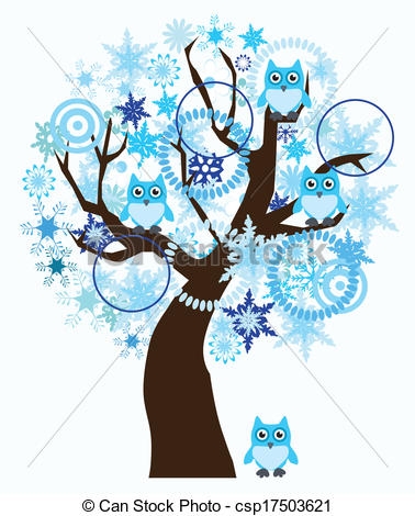 winter tree clipart blue #6