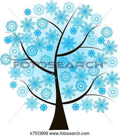 Winter Tree Clipart Blue.